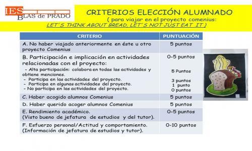 Criterios de selección de los alumnos