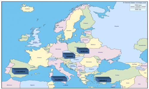 Mapa de los países participantes
